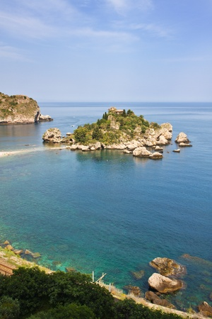 Taormina, sea scape with isola bella (beautiful island) in Sicily, Italy - vertical version Stock Photo - 8316610