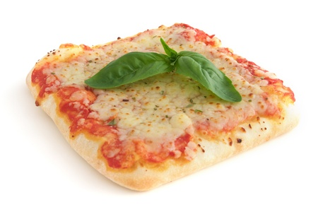 Small square piece of pizza - isolated on white background photo