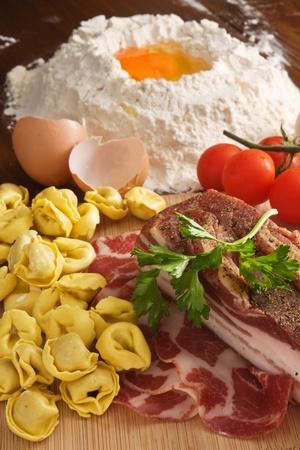 ravioli: Homemade Tortellini pasta with ingredients
