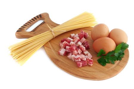 Ingredients to make spaghetti alla carbonara - isolated on white photo