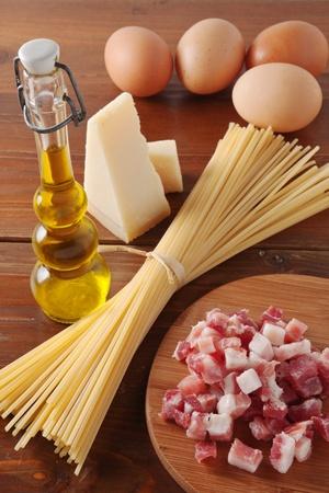Ingredients to  make pasta carbonara  photo