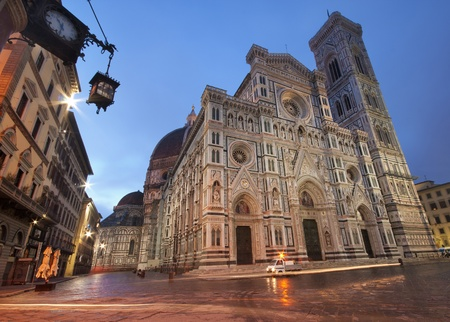 firenze: Florence Cathedral by night, Italy Stock Photo