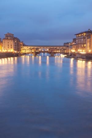 ponte vecchio: Florence, Italy - Ponte Vecchio bridge by night Stock Photo