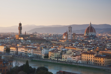 florence italy: Florence, Italy - skyline at sunset