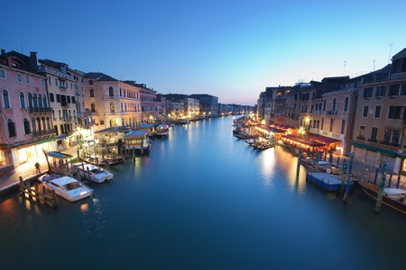 Grand Canal in Venice, Italy at twilight
