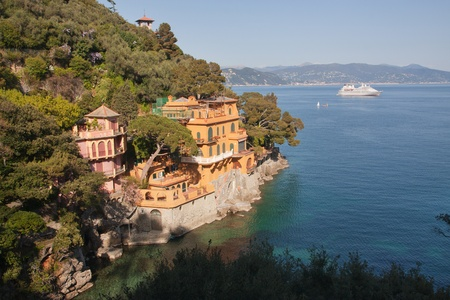 Luxury house in the sea near portofino, italy photo