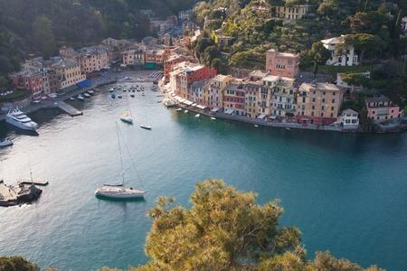 coastline: Aerial view of Portofino, italy in a sunny summer day