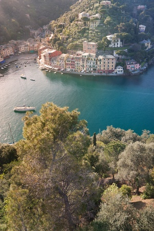 Aerial view of Portofino, italy in a sunny summer day photo