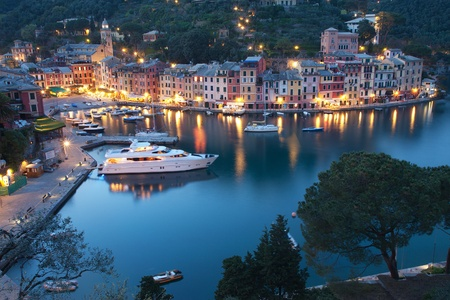 Aerial view of the beautiful Portofino village in Italy by night