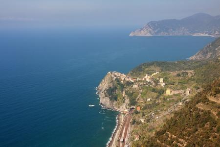 Aerial view of Corniglia, cinque terre, Italy photo