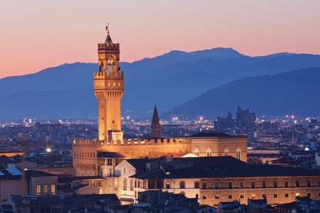 florence: The Famous Palazzo Vecchio in Florence, Italy, at twilight Stock Photo