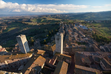 Aerial view of the medieval village San Gimignano in Tuscany, Italy photo
