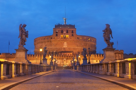 Rome, Italy The famous Castel SantAngelo at twilight photo