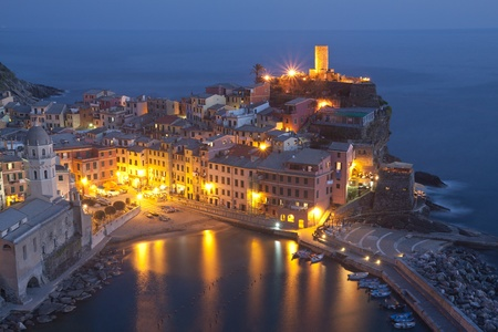 vernazza: The beautiful Vernazza fishing village in Italy by night