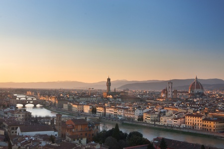florence italy: Florence, Italy - skyline with Duomo, Palazzo vecchio and Ponte vecchio