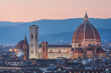 florence: Santa Maria del Fiore cathedral in Florence at twilight Stock Photo
