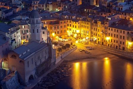Vernazza village in Liguria, Italy, at dusk photo