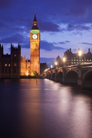 Big Ben and Westminster Bridge in London, UK, at dusk