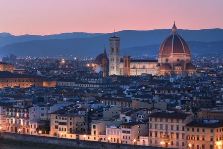 florence italy: Florence, Italy - skyline at dusk