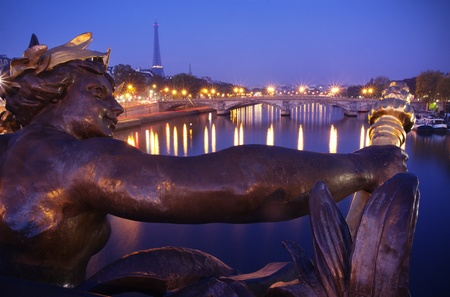 Paris, France: Eiffel tower and Seine River From Alexandre III bridge