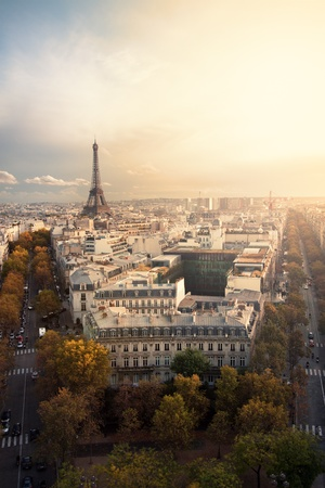 Aerial view of Paris and Eiffel Tower at sunset with copy space. photo
