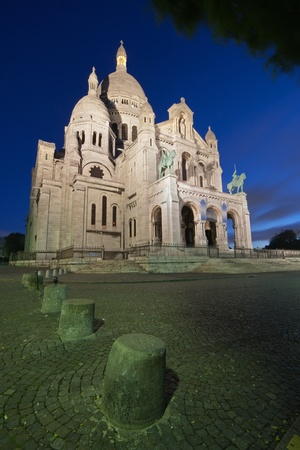 sacred heart: Basilique du Sacre coeur (Sacred Heart cathedral) in Paris, France, at dusk
