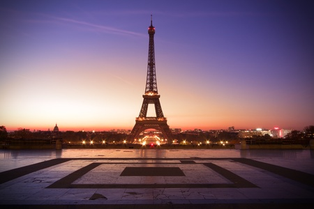 trocadero: Paris, France - Eiffel tower at sunset
