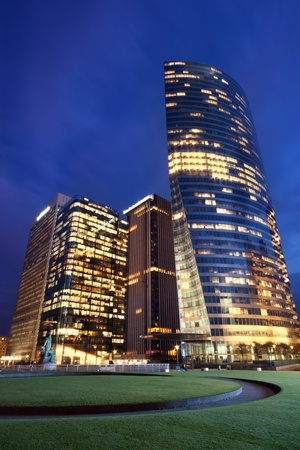 Office buildings at dusk in the parisian financial district