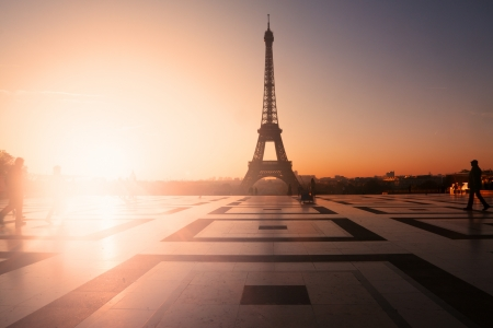 Paris, France: Eiffel Tower at sunset (or sunrise) from Trocadero. Copy space on left photo