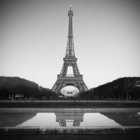 Eiffel Tower in Paris - black and white photo