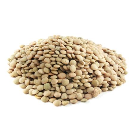 green lentil: Heap of green lentil on white background