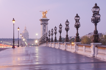 bridges: Alexandre III bridge in Paris at dawn