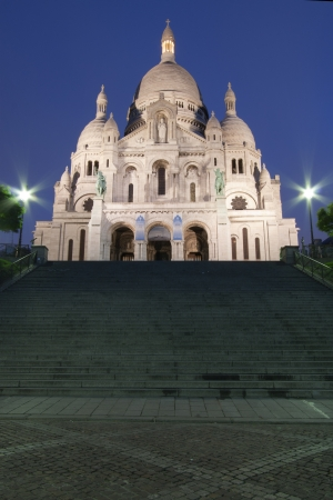 sacred heart: Paris, France: frontal view of Sacre coeur (Sacred Heart cathedral) at dusk