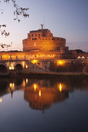 Castel SantAngelo in Rome at dusk