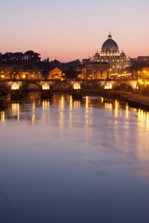 peters: St. Peters Basilica in Rome - Tiber River on foreground