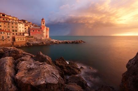 italian village: Beautiful sunset in Tellaro, a small fishing village in Liguria, Italy
