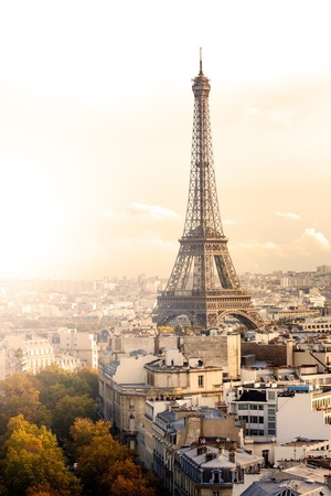 paris skyline: Aerial view of Paris and Eiffel Tower at sunset Stock Photo