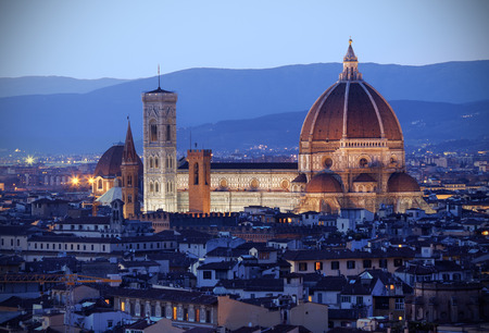 Aerial view of Florence at dusk photo