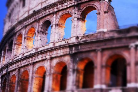 tilt shift: Rome, Italy. Coliseum at dusk, tilt shift effect added