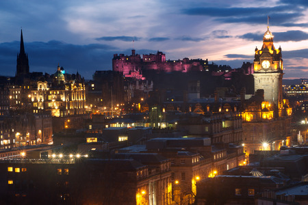 Edinburgh, Scotland skyline at dusk