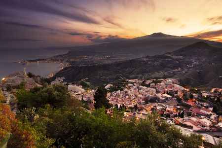 etna: Aerial view of Mount etna at sunset from Taormina Stock Photo
