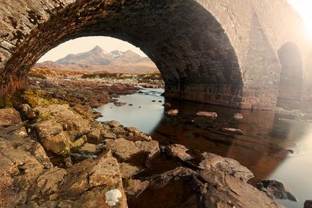 scenary: Scotland landscape: famous old bridge in Sligachan and Cuillins