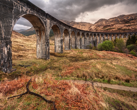 the jacobite: Beautiful old railway viaduct in glenfinnan, Scotland