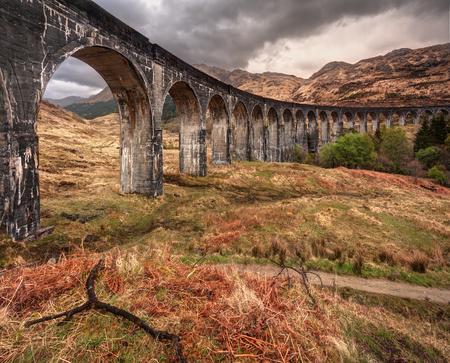 jacobite: Beautiful old railway viaduct in glenfinnan, Scotland