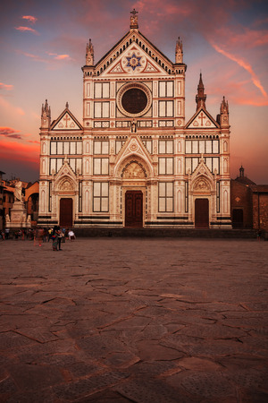 santa cross: Santa Croce basilica (Basilica of the Holy Cross) in Florence, Italy, at sunset.