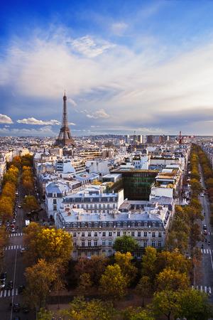 tour eiffel: France: aerial view of Paris skyline; Eiffel Tower (Tour Eiffel) on background.