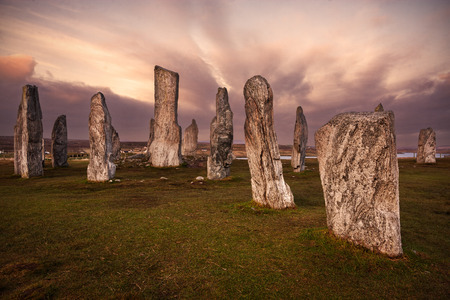 standing stone: Isle of Lewis, Scotland: Callanish standing stones (a neolithic stone circle) at sunset