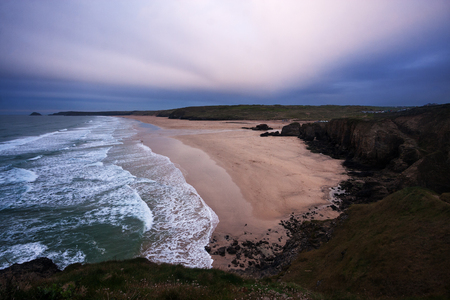 coastlines: Aerial view of deserted beach in Perranporth (Cornwall, England) at dusk. Stock Photo