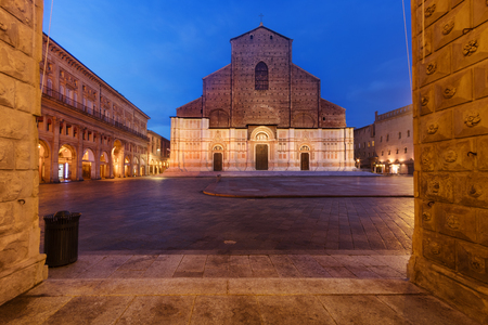 Basilica of San Petronio (Saint Petronius) in Bologna, Italy, at dusk seen from Piazza Maggiore square.