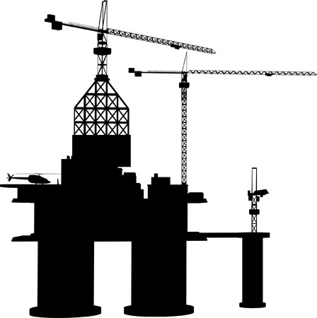 detailed  oil rig Vector